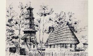 Prva užička drvena crkva Svetoga Marka čiji zvonik je izradio Rista Tešić (crtež Kanica iz 1864)