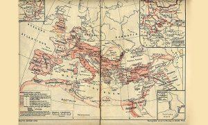 Karta iz vrednog Stanojevićevog atlasa iz 1922.godine, koja pokazuje kako se razvijala rimska država