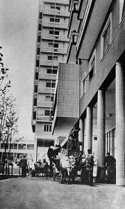 Doseljavanje u novoizgrađene zgrade na trgu, uz pomoć volova Muja i Hasa