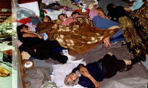 Izbeglice u Hali u Velikom parku 16. avgusta 1995. godine