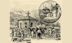 Užička pijaca sa Zlatiborcima, u uglu Mićićev konak na Slanuši (crtež Feliksa Kanica)