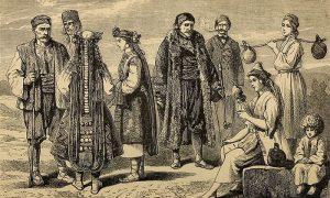 Crtež putopisca Slavinića izgleda stanovništva u Srbiji 1866.
