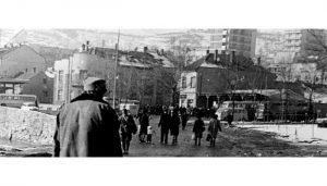 Autobuska stanica je šezdesetih i sedamdesetih godina 20. veka bila gde je danas parking iza beogradske robne kuće (foto Predrag Kovačević)