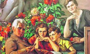 Vajar, slikar, pisac, ratnik Mihailo Milovanović sa porodicom