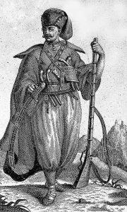 Na crtežu slavonski pandur iz 18. veka najpribližniji je opisu kako ga je kao dete Miladin video