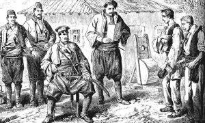 Kanicov crtež suđenja: Kapetan i panduri koji čekaju da propiše kaznu, kao i sprava na koju je kažnjeni stavljan