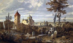 Kanicov akvarel manastira Žiča (Narodni muzej u Beogradu)