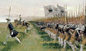 """Napad pruske grenadirske pešadije, """"Postdam divova"""" 1745. godine (slika Carl Röchling-a iz 1913)"""
