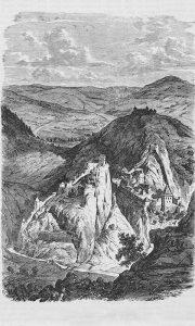 Užička tvrđava u Srbiji oko 1865. (ilustracija iz časopisa Zlatá Praha br. 3 1865, digitalizovano od strane Češke akademije nauka)