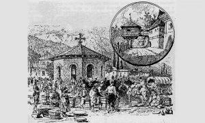 Užička Žitna pijaca sa Zlatiborcima i Mićićev konak na Slanuši (Kanicov crtež)