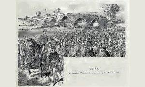 Užice, prelazak srpske vojske preko mosta na Đetinji (Kanicova skica)