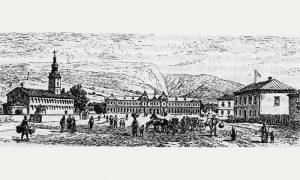 Kanicova skica iz 1888, Užice - trg pred crkvom i nova gimnazija