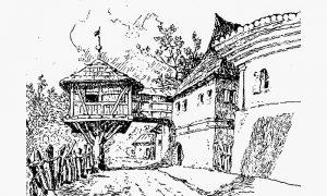 Na crtežu Feliksa Kanica - konak Serdara Jovana Mićića na Slanuši