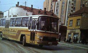 Autobuska stanica i Raketin autobus sedamdesetih (foto Aleksandar Ristić)