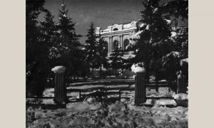Zgrada opštine i Parčić, kako ih je video Vlajko Kovačević 1954.