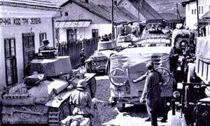 Nemačka kolona sa tenkovima, koja ulazi u Užice preko Carine (kroz sadašnju ulicu Nemanjinu)