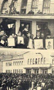 Kolaž fotografija, govori Đorđe Draškić i ostale fotografije na kojoj se vidi i poslednja predratna manifestacija na platou Sokolane 27. marta 1941.