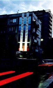 Mural na zgradi preko puta Mrkonjića bare krajem devedesetih