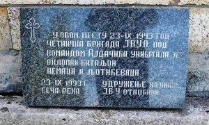 Spomen ploča u Sečoj Reci na mestu bitke u kojoj je ubijen Lautner