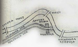 Skica nekadašnjih vodenica i mostova na Međaju