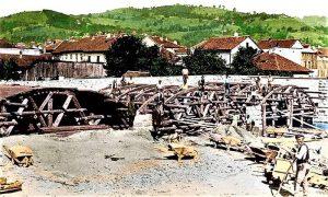 """Početak gradnje """"Aleksandrovog mosta"""" (obojio Zoran Domanović)"""