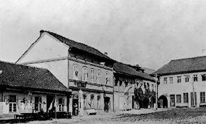 Ljuba Subotić ispred apoteke na žitnom pijacu pred Prvi svetski rat