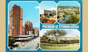 """Razglednica Užica na kojoj je tek sagrađeni blok """"Zlatibor"""""""