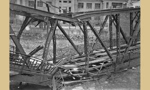 Železnički most posle povlačenja okupatora 1944. god.