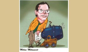 """Milan Milanović, karikatura Toša Borkovića iz 2004. godine, povodom dobijanja Zlatne plakete kompanije """"Novosti"""""""