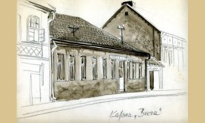Crtež kafane Breza na Donjoj čaršiji za Dragana R. Filipovića uradio Igor Kordej