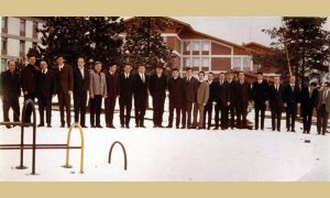 Jehlička sa svojim gimnastičarima na Zlatiboru kada su ga ispraćali u Beograd