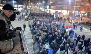 Miloš Cvetović Cvekla u vreme protesta 1.01.2019. godine (foto N. Papić)