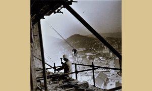 Početak gradnje užičkih solitera, dole se vidi kafana Truman, Zeleni pijac