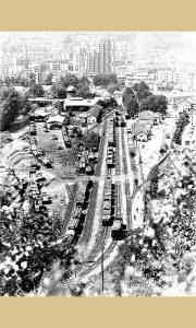 Kompleks užičke železničke stanice početkom sedamdesetih 20.veka sa Stanicom, Ložionicom, Domom železničara, parčićem, đelezničkom zgradom, tranzitnim delom