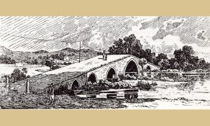 Ilustracija Feliksa Kanica, rimskoga mosta u Požegi u 19. veku