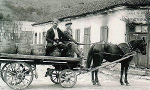 Kočijaš Ratko Jovanović prevozi buriće sa pivom, fotorafisan na Megdanu