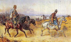 "Karl Gebel, ""Tatarin i Surudžija"" , druga polovina XIX veka, akvarel, PTT muzej Beograd"