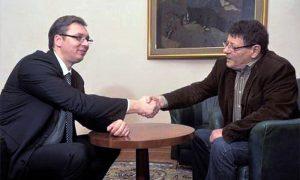 Književnik Svetislav Basara sa predsednikom Vučićem