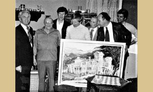 Poslednji susret dve užičke sporske legende, prvi s leva Vlajko Kovačević, drugi Jože Jehlička