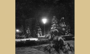 Zimska idila u parčiću ispred biblioteke