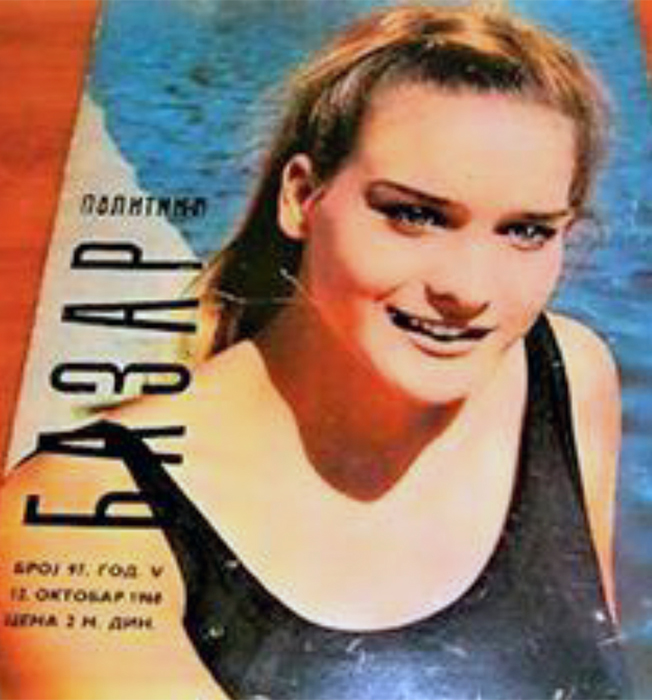 """Časopis """"Bazar"""" na naslovnoj - Ivona Puhiero, Mis Jugoslavije 1968."""