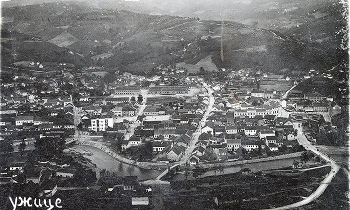 """Užice 1922. godine. Centralni deo Klisure zauzima """"Artiljeriski krug"""""""