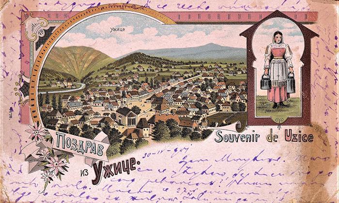 Jedna od prvih razglednica Užica koja prikazuje Užice u 8. deceniji 19. veka gradnje posle regulacionog plana