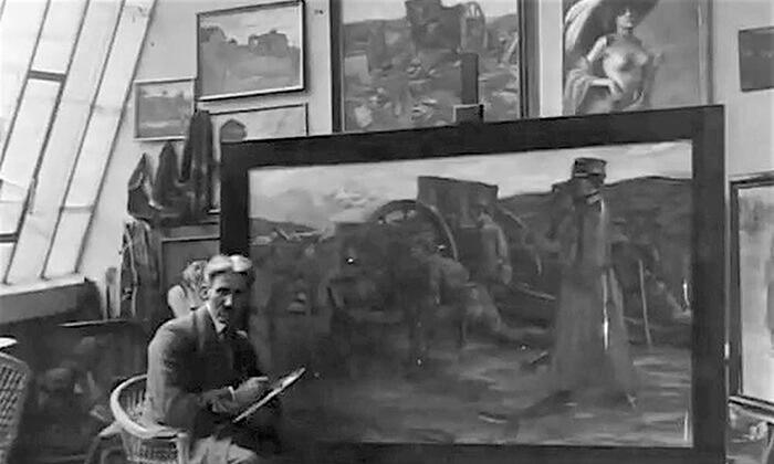 Ujak Mihailo Milovanović u svom ateljeu u Beogradu