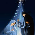 Ilustracija koja prati priču o jelki koja je poklonila zvezdu malom Isusu
