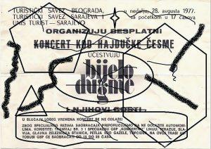 Flajer za koncert kod Hajdučke česme