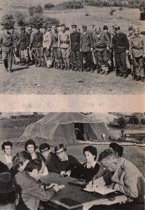 """Vojnici koji će u filmu """"67 dana Užičke republike"""" glumiti borce na Kadinjači. Druga - Užički omladinski funkcioneri su posetili vojni logor Užička republika"""