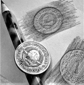 """. Posle saznanja šta je """"Frotaž"""" žvrljali smo preko novčića gde god je mogao da se ostavi otisak"""