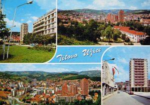 Razglednica T. Užica iz 1973. na kojoj je i najveći soliter u SFRJ