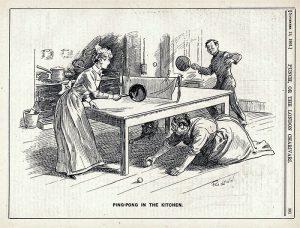 Novinska karikatura iz 1901. Ping pong u kuhinji